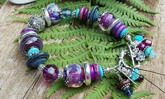 Evening Dance lampwork glass bracelet (Silverfish Designs) Tags: purple handmade turquoise handcrafted artisan craftshow balisilver lampworkglassbracelet silverfishdesigns floydvaartisans