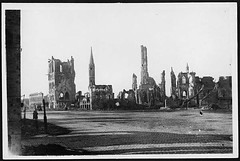 Cathedral and Cloth Hall, Ypres, as they appeared at the end of 1916 (National Library of Scotland) Tags: france french ruins war propaganda wwi great photojournalism cathedrals medieval worldwari worldwarone ww1 greatwar towns firstworldwar ypres belltowers wardamage thegreatwar 19141918 civiccenters warphotography photographicprints nls:d