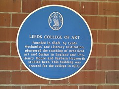 Photo of Barbara Hepworth, Henry Moore, and Leeds College of Art blue plaque