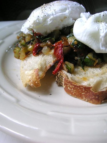 Zucchini Caponata with poached eggs