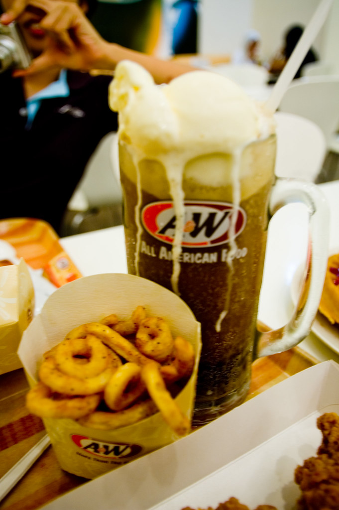 A&W: Root Beer Float and Curly Fries