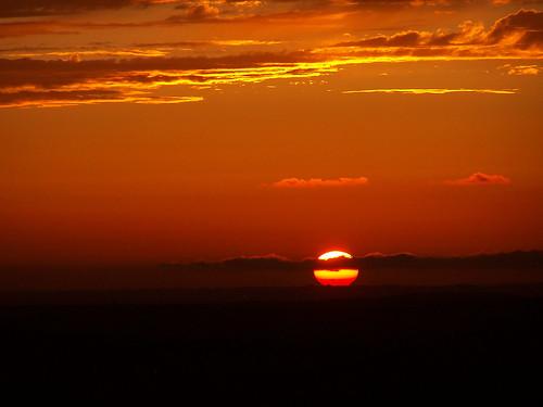 Puesta de sol sobre la bahía de Cádiz