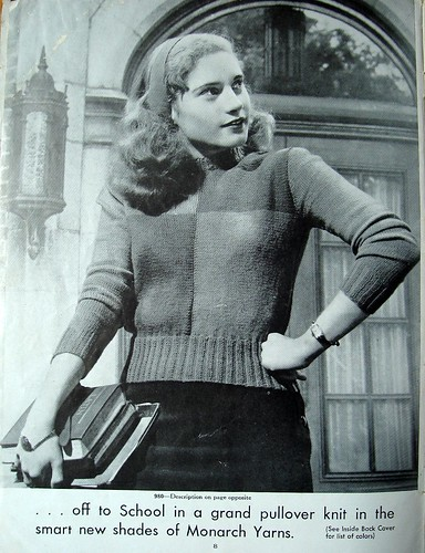 ...off to School in a grand pullover knit in the smart new shades of Monarch Yarns