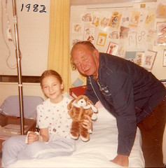 My sister Heather in the hospital, my grandfather visiting