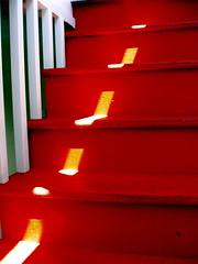 Stairway Sunlight (my.third.eye) Tags: sanfrancisco light shadow red geometric stairs interestingness geometry patterns steps miksang stairways utatafeature colourartaward