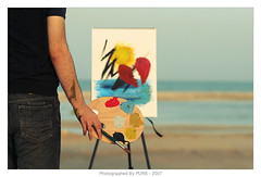 when you BROKE my heart , i LOST my hobbie  . (PRE ~) Tags: boy sea sun man beach broken colors canon painting 350d sand paint heart brush pure doha qatar faisal ef9e9