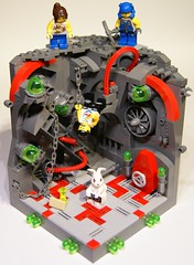 Down the Rabbit-Hole (Bart De Dobbelaer) Tags: white rabbit lego alice atlantis wonderland vignette rabbithole clumsypete