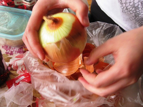 Peeling the onions