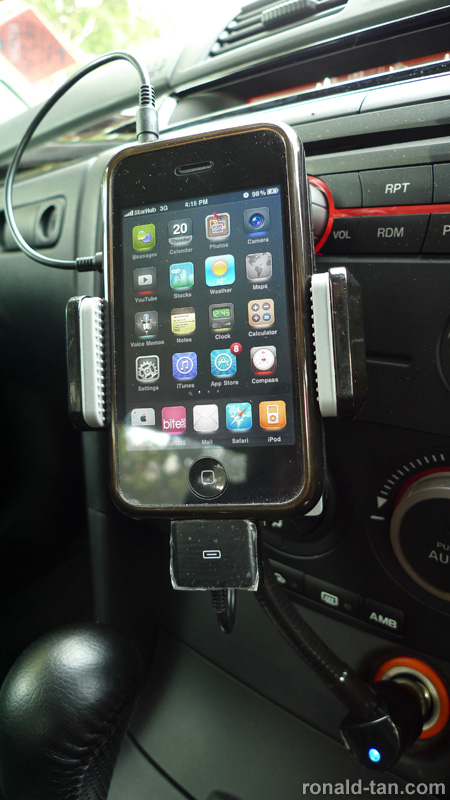 AllKit Cigarette Mount Holder and Charger with Full Range FM Transmitter for iPhone and iPod