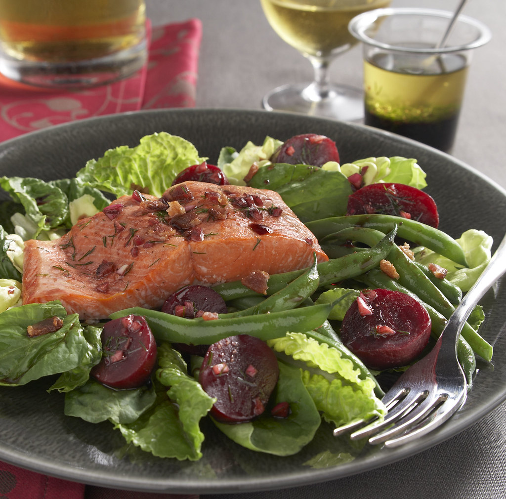 Salmon and Beet Salad with Pomegranate Dressing