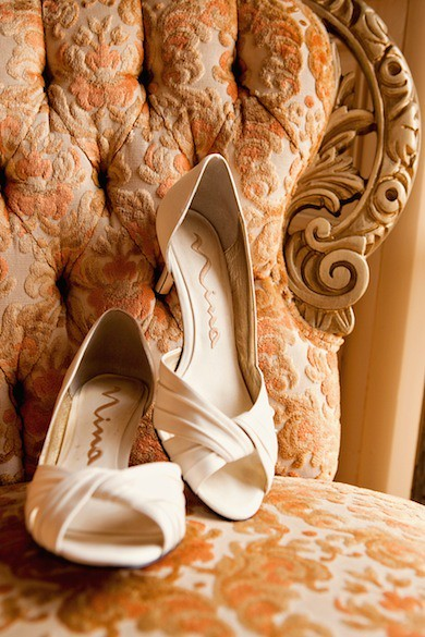 Ivory wedding shoes with beautiful open style