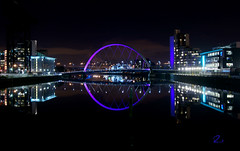 Glasgow Nightscape (RusseII Lees) Tags: bridge reflection tower river studio landscape bride scotland clyde boat russell nightscape glasgow sony bbc a380 secc lees waverley sciencecentre squinty stv bellsbridge