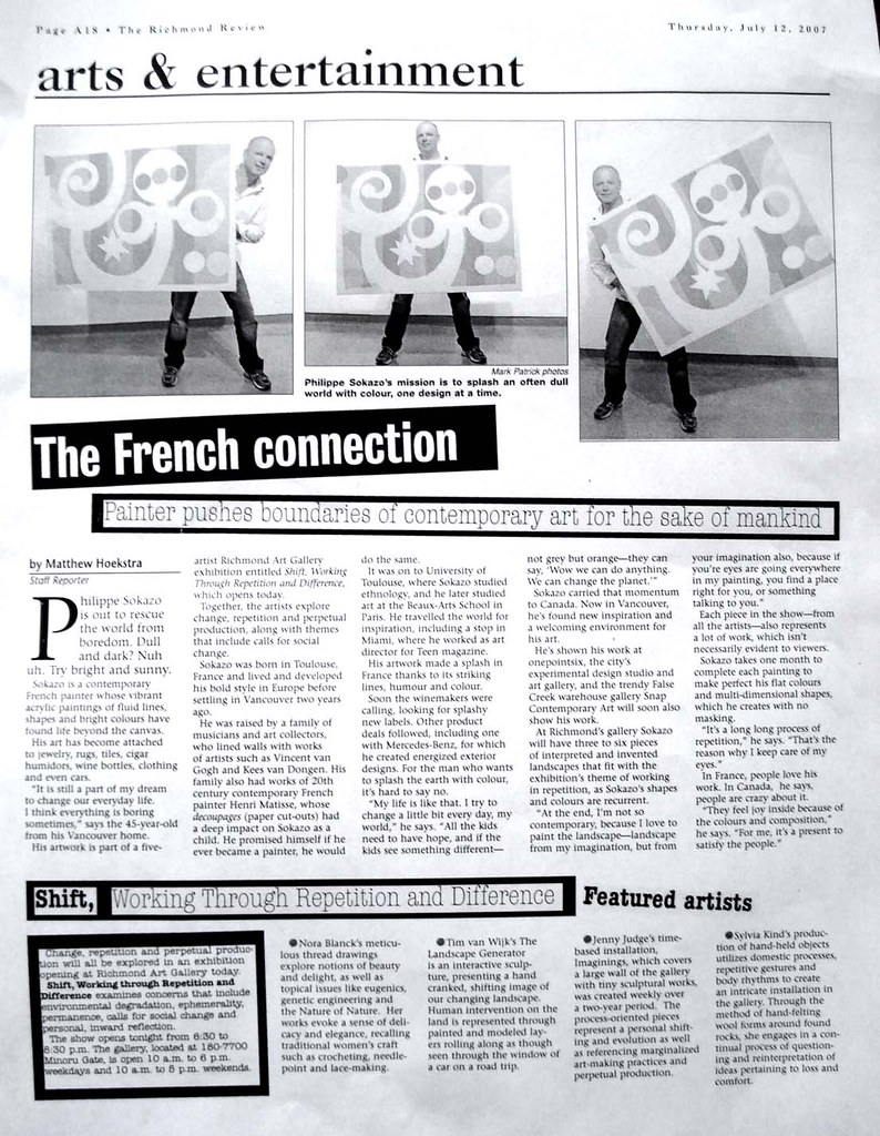 """The Richmond  Review: """"the French connection"""" Painter pushes boundaries of contemporary art for the sake of Mankind"""