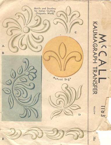 Vintage Kaumagraph Trapunto Pattern, 1945