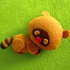 Sleeping Racoon (Eskimimi) Tags: bear cute toy stuffed teddy small felt plushie etsy racoon stuffie