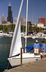Chicago - Burnham Harbor Sailboat & Sears(Willis) Tower (David Paul Ohmer) Tags: pictures travel chicago tower tourism skyline architecture buildings boats photography harbor illinois nikon sailing waterfront photos pics searstower cities adventure sailboats nikkor n90 willis burnham lakefront cookcounty chicagoland 28200mm travelphotography burnhamharbor cityphotography aplusphoto