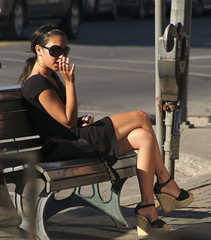 Nicotine Addict in Little Black Dress (colros) Tags: montreal cigarette littleblackdress