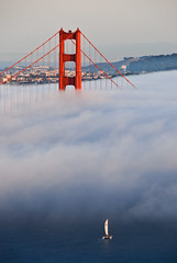 Golden Gate Bridge under fog (canbalci) Tags: sanfrancisco california landmark goldengatebridge ultimateshot top20red