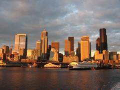 Downtown Seattle, Washington from Seattle-Bremerton Ferry, Seattle, Washington