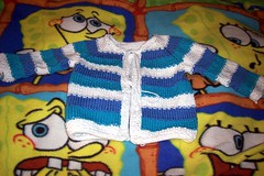 tulip baby sweater (epsouhoh) Tags: baby sweater knitting tulip babystuff fo cardigan babyshower 2007 babysweater cottonease appliedicord tulipacolorfulcardiganforbaby