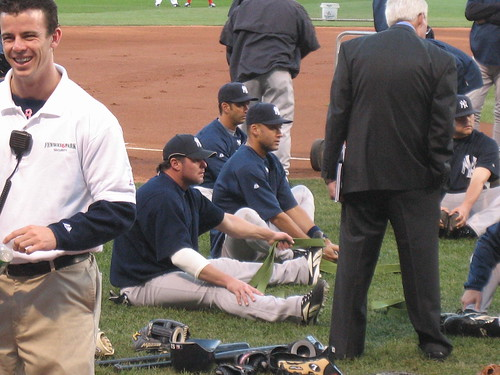 Giambi, Jeter, Posada (Jobba hiding behind guy in suit)