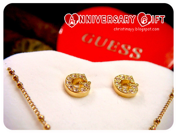 Anniversary Gift: GUESS Gold Coloured Crystal Pave G Stud Earrings & Necklace