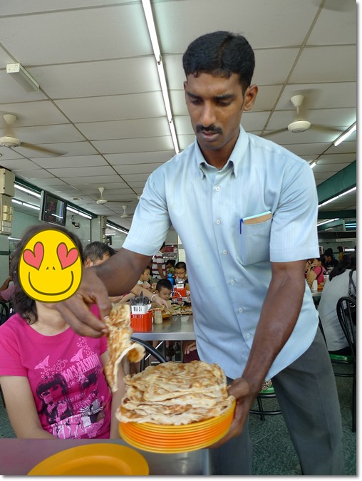 Serving the Roti Canai in Stacks