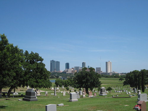 View from Oakwood Cemetery looking over the Trinity River into downtown Ft. Worth by fables98