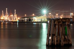 Docking With The Stars (Vermin Inc) Tags: cold water night docks buildings reflections stars lights evening pentax shed australia melbourne victoria warehouse yarra docklands crains portphillipbay k7 mooringpost sigma70200mmf28 justpentax