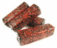 Faux Tooled Leather Tower Beads - Cayenne Red and Black