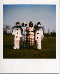 Carnevale (Mas-Luka) Tags: park carnival trees portrait italy childhood vintage children polaroid costume twins mask bambini sister clown memories makeup retro 80s oldphoto eighties carnevale pierrot instantcamera gemelli pagliaccio bambino sorella kodamatic fineartportrait ottanta francescasoffici