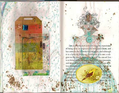altered book spread
