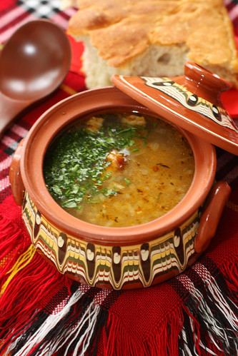 Bulgarian pork steak and rice soup