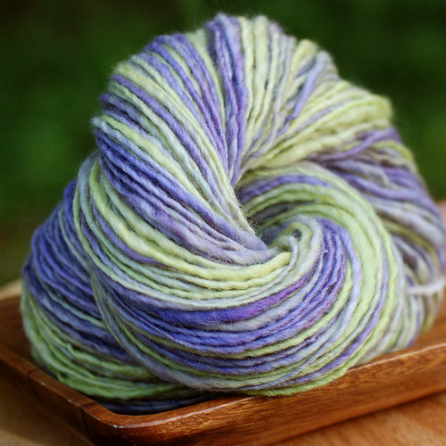 Citron Vert et Violette handspun yarn bfl bluefaced leicester wool purple violet lime green 005