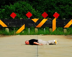 Rhythm in Saffron and Red (Studio d'Xavier) Tags: yellow warning puzzle converse chucks chucktaylors facedown planking facedowntuesday