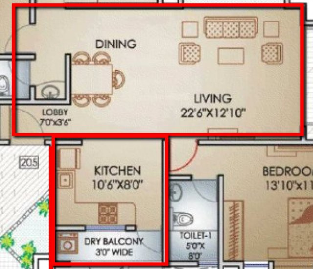Teerth Towers 3 BHK Flat Living+Dinning+Kitchen