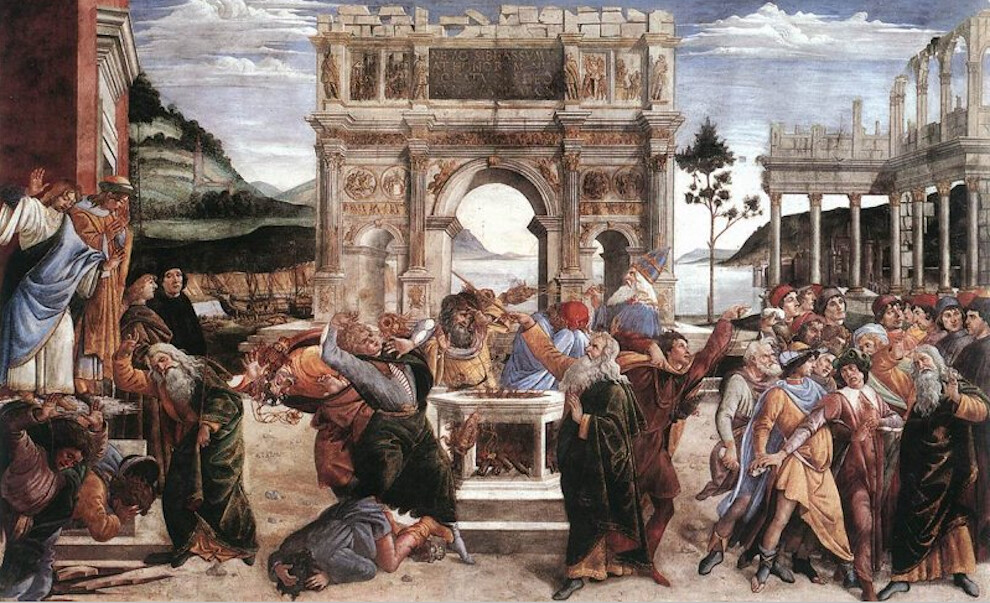 Sistine Chapel Southern Wall - the Punishment of Korah, Dathan, and Abiram