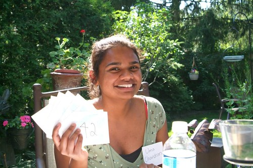 Uma with her index cards