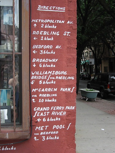 Directions at the corner of Havemeyer and Grand, courtesy of The City Reliquary