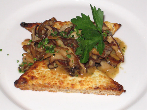 Goat Cheese Croutons  with Mushrooms in Madeira Cream