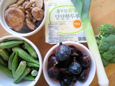 Lawrence Fruit Market Yield. Shitakes, Okra, Figs, Leek, Broccoli and Organic Tofu.jpg