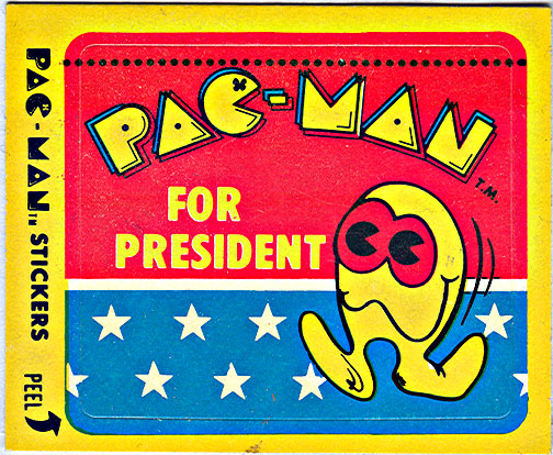 "Fleer ""PAC-MAN"" Sticker NO.12 of 54 'Pac-Man For President' (( 1980 ))"