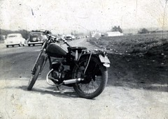 1949 Famous James at rest along the highway (bcgreeneiv) Tags: blackandwhite bw vintage james nostalgia motorbike motorcycle twostroke villiers 2cycle 10million 10millionphotos billgreene williamgreene