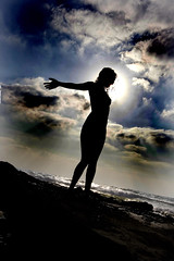 - nude female beach sea people ifat israel sky michmoret silhouette ישראל cloud