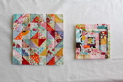Scrappy (Jeni Baker) Tags: colors modern triangles cool log cabin warm apartment quilt handmade sewing may fabric quilting stitching block improv quilts value scraps crafting 2010 scrappy improvisational piecing