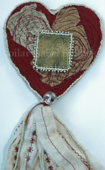 Milagro of Our Lady of Guadalupe (pip814) Tags: heart felt holy sacred beading milagro tassel fabricarts ourladyofguadalupe artquilt fiberarts metaletching