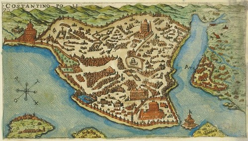Constantinopoli - 16th century map of Istanbul