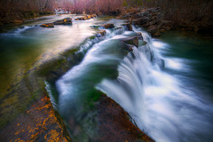 Winter Highlights (tobey308) Tags: reflection creek photography waterfall overcast highlights streams todd tobey vignette rushingwater southeastoklahoma
