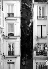 steps to heaven (lachaisetriste) Tags: blackandwhite bw paris noiretblanc montmartre nb rue escalier d700