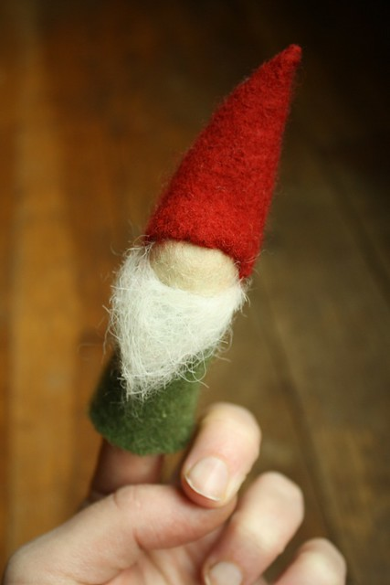 woolly finger puppet gnome